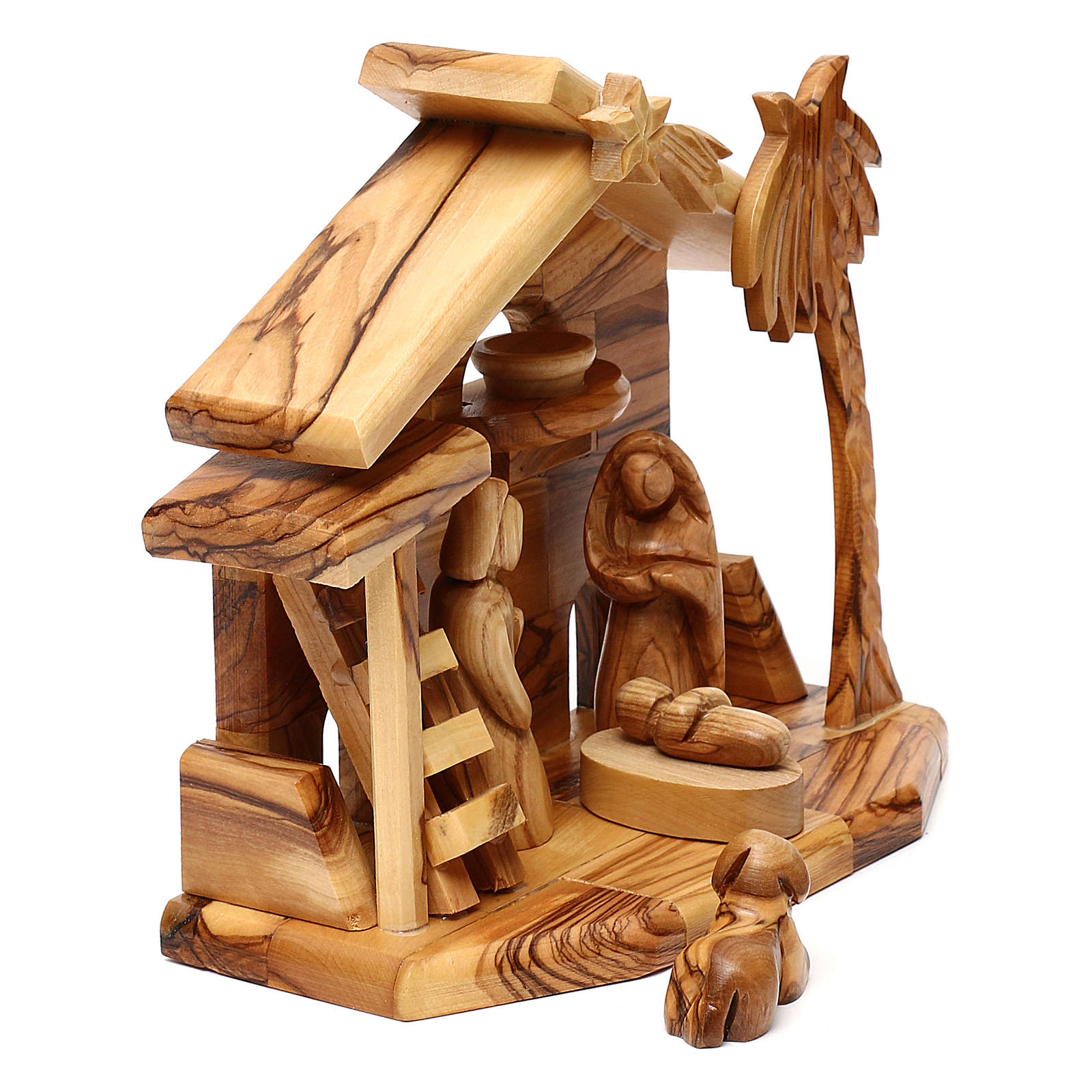 Nativity scene with cave in Bethlehem olive wood 20x20x10 cm 4