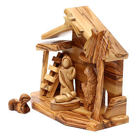 Nativity scene with cave in Bethlehem olive wood 20x20x10 cm s2