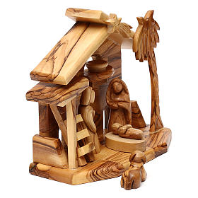 Nativity scene with cave in Bethlehem olive wood 20x20x10 cm s3