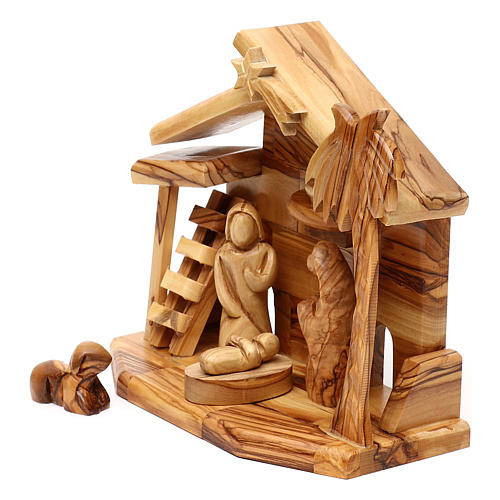 Nativity scene with cave in Bethlehem olive wood 20x20x10 cm 2