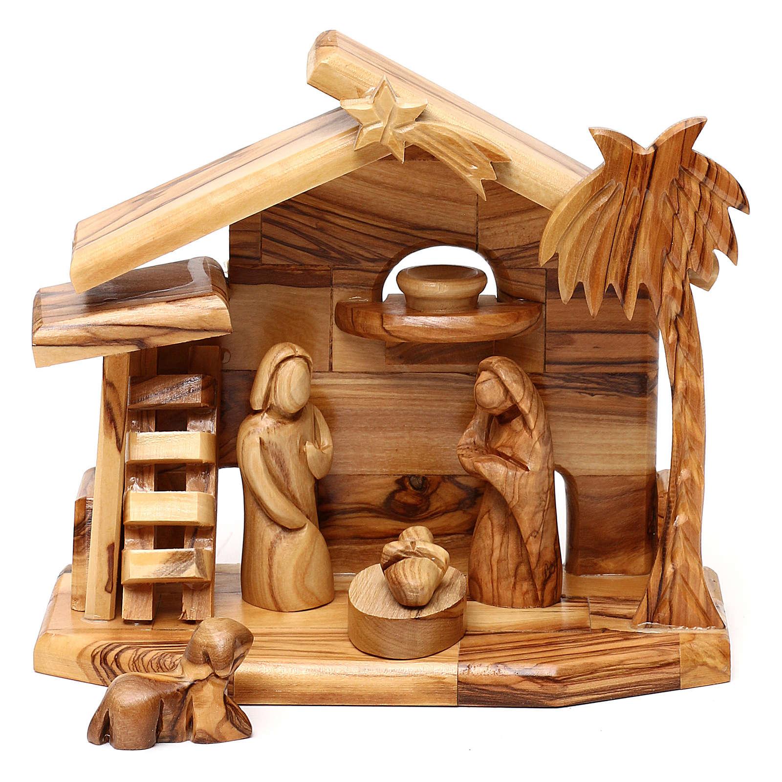 Cabane avec crèche en olivier de Bethléem avec Nativité 20x20x10 cm 4