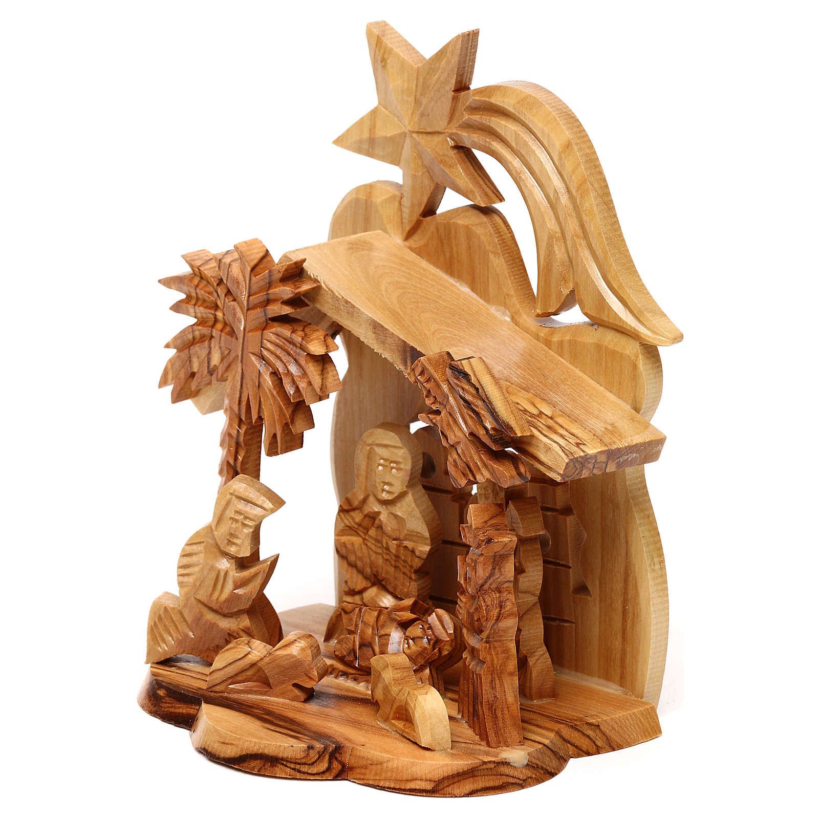 Nativity scene with cave and church in Bethlehem olive wood, stylized 15x10x10 cm 4