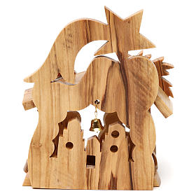 Nativity scene with cave and church in Bethlehem olive wood, stylized 15x10x10 cm s4