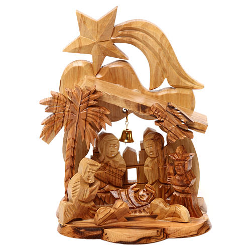 Nativity scene with cave and church in Bethlehem olive wood, stylized 15x10x10 cm 1