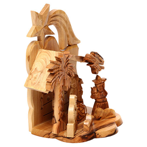 Nativity scene with cave and church in Bethlehem olive wood, stylized 15x10x10 cm 3