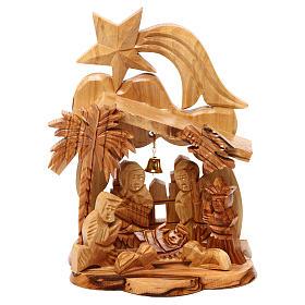 Capanna con presepe ulivo di Betlemme con Natività e chiesa 15x10x10 cm s1