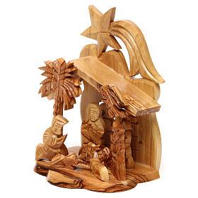 Capanna con presepe ulivo di Betlemme con Natività e chiesa 15x10x10 cm s2