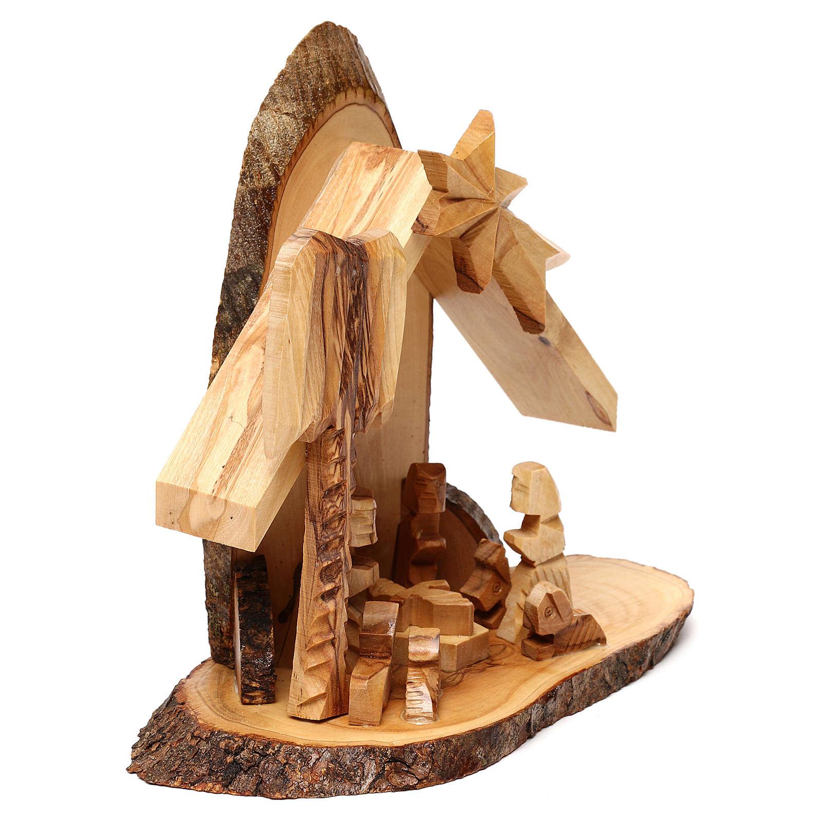 Nativity scene with cave in Bethlehem olive wood, stylized 20x20x10 cm 4