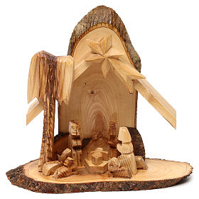 Nativity scene with cave in Bethlehem olive wood, stylized 20x20x10 cm s1