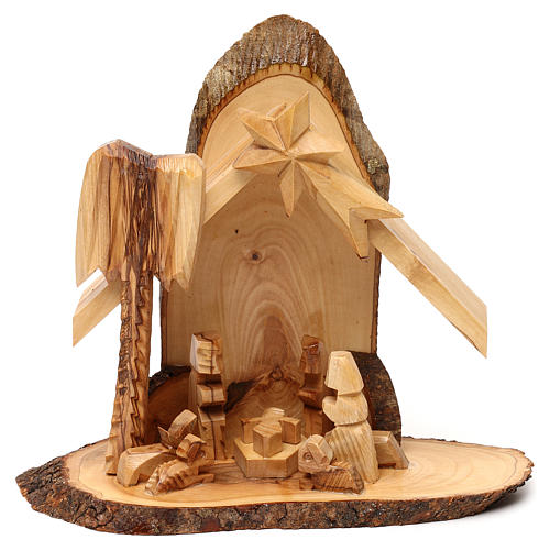 Nativity scene with cave in Bethlehem olive wood, stylized 20x20x10 cm 1