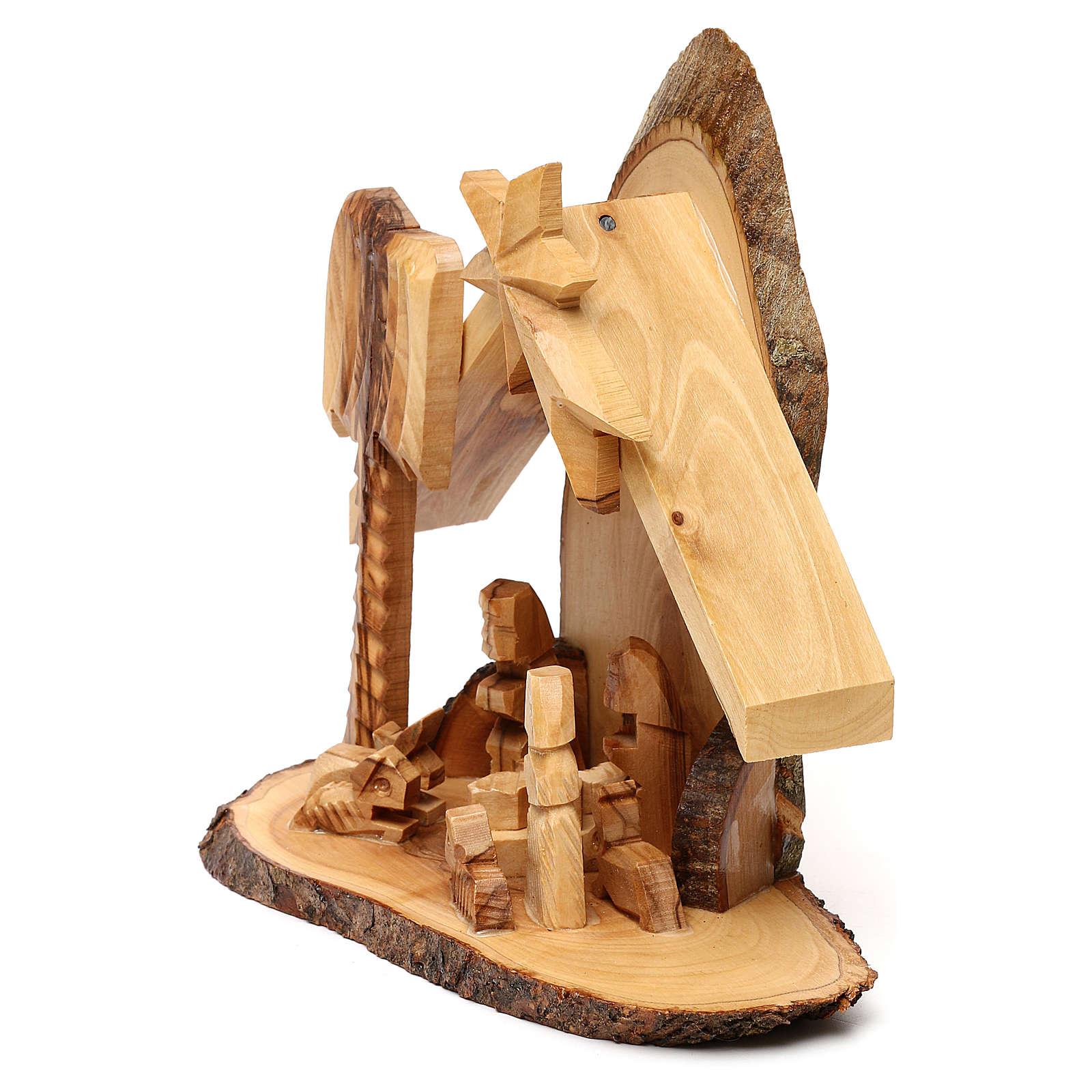 Cabane avec crèche olivier de Bethléem stylisée 20x20x10 cm 4