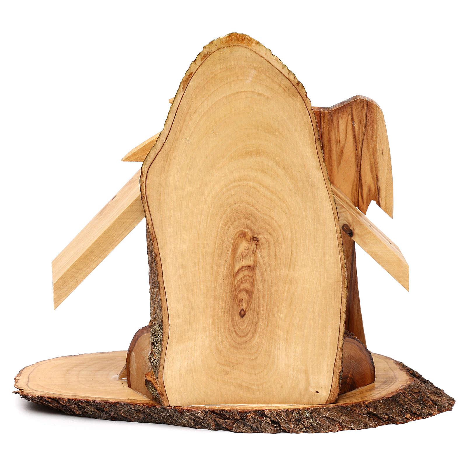 Capanna con presepe ulivo di Betlemme stilizzato 20x20x10 cm 4