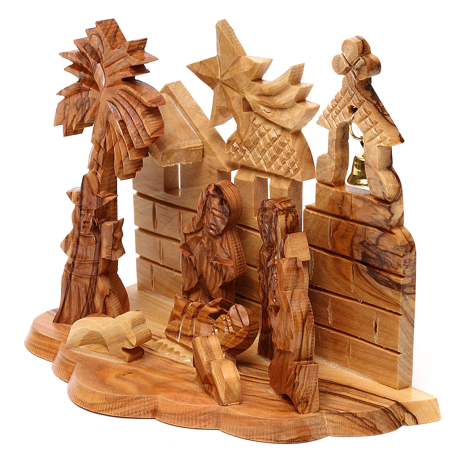 Nativity scene with cave and church in Bethlehem olive wood, stylized 10x15x10 cm 4