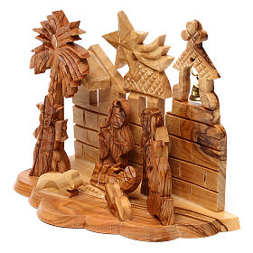 Nativity scene with cave and church in Bethlehem olive wood, stylized 10x15x10 cm s2