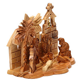 Nativity scene with cave and church in Bethlehem olive wood, stylized 10x15x10 cm s3