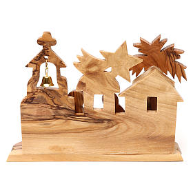 Nativity scene with cave and church in Bethlehem olive wood, stylized 10x15x10 cm s4