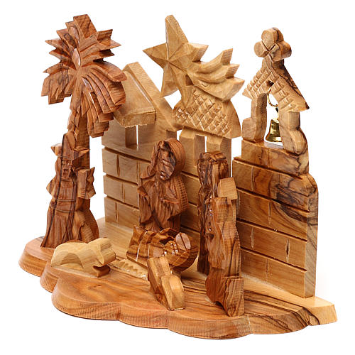 Nativity scene with cave and church in Bethlehem olive wood, stylized 10x15x10 cm 2