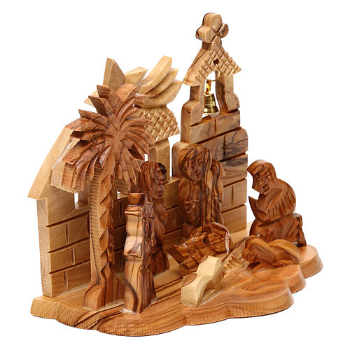 Nativity scene with cave and church in Bethlehem olive wood, stylized 10x15x10 cm 3
