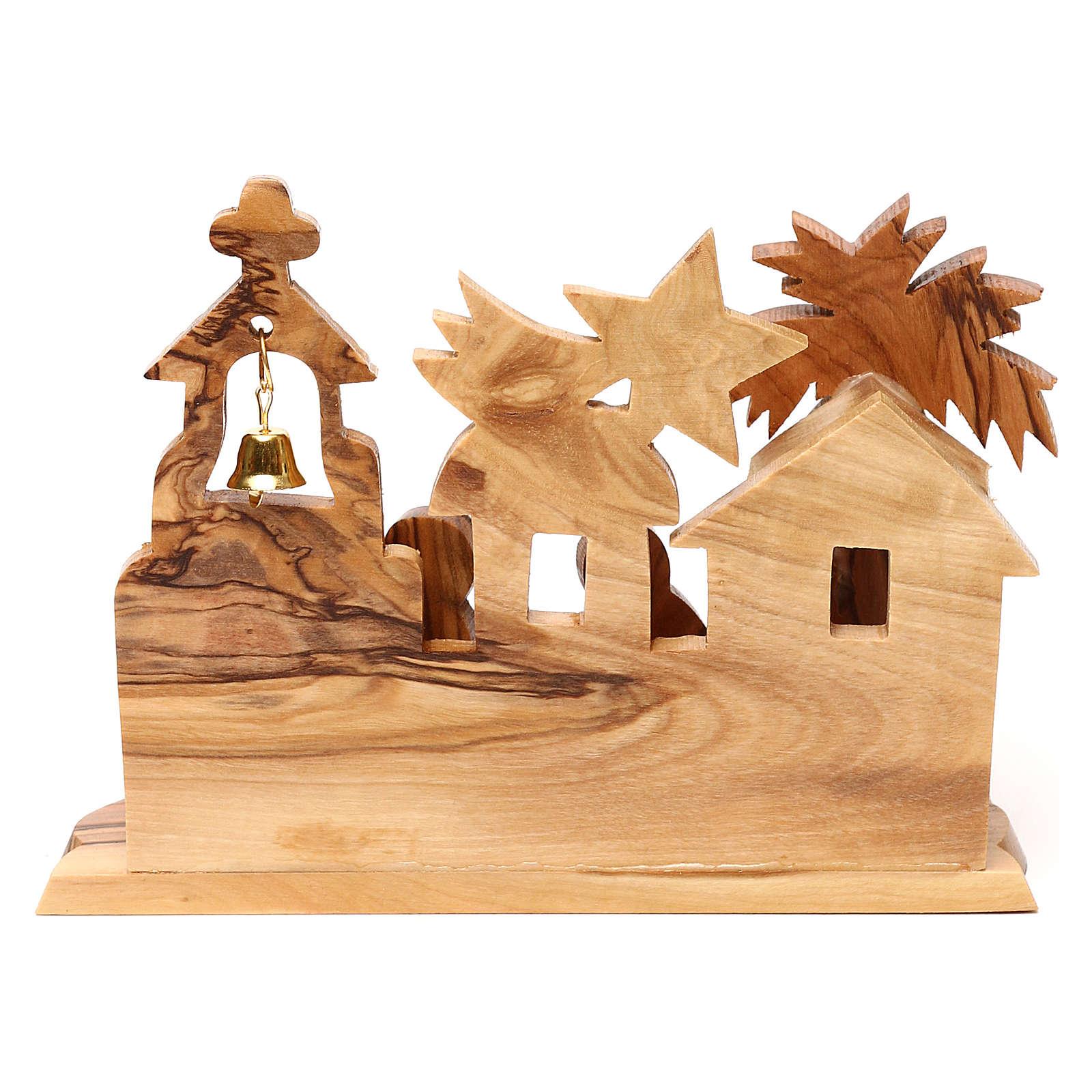 Cabaña con belén e iglesia de olivo de Belén estilizado 10x15x10 cm 4