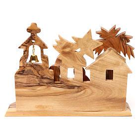 Cabane avec crèche et église en olivier de Bethléem stylisées 10x15x10 cm s4
