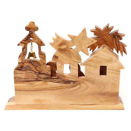 Cabane avec crèche et église en olivier de Bethléem stylisées 10x15x10 cm 4