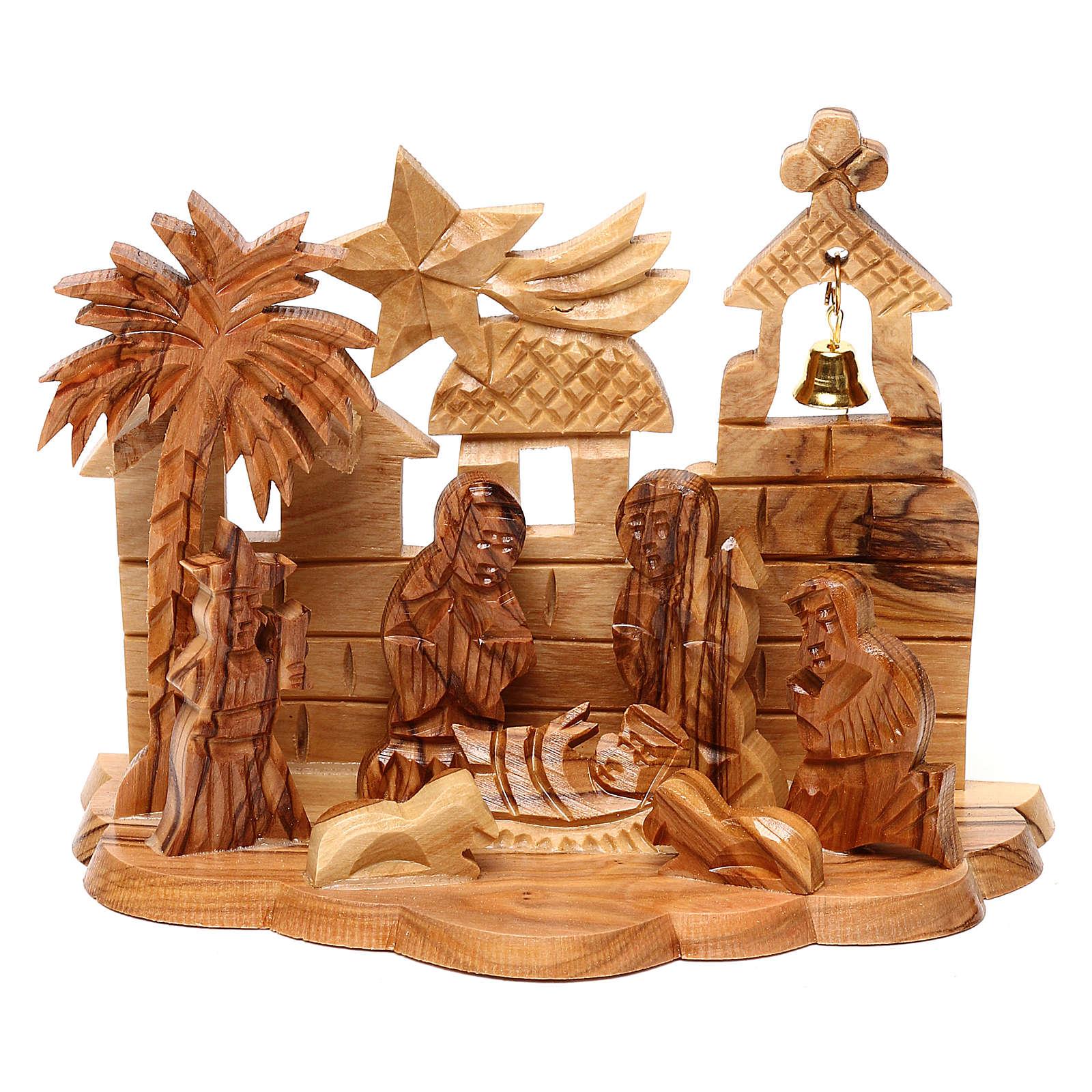 Capanna con presepe e chiesa in ulivo di Betlemme stilizzato 10x15x10 cm 4