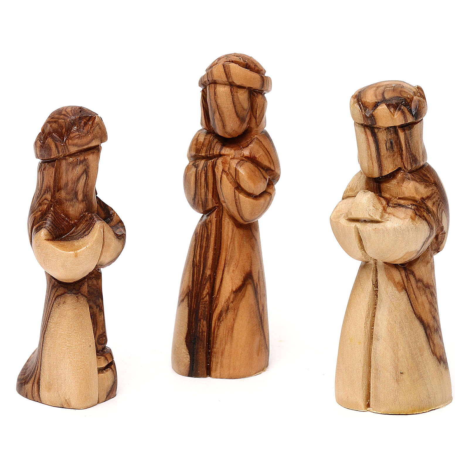 Nativity scene with cave in Bethlehem olive wood, star and palm tree 20x20x15 cm 4
