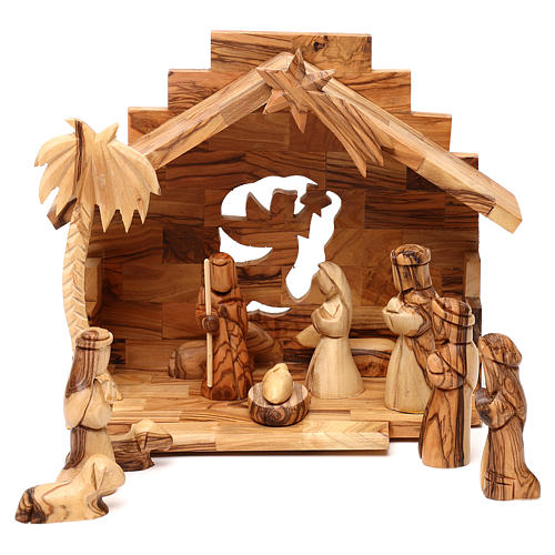 Nativity scene with cave in Bethlehem olive wood, star and palm tree 20x20x15 cm 1