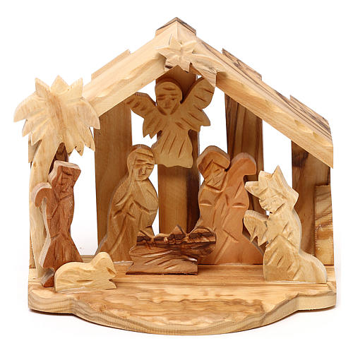 Nativity scene with cave in Bethlehem olive wood 10x10x10 cm 1