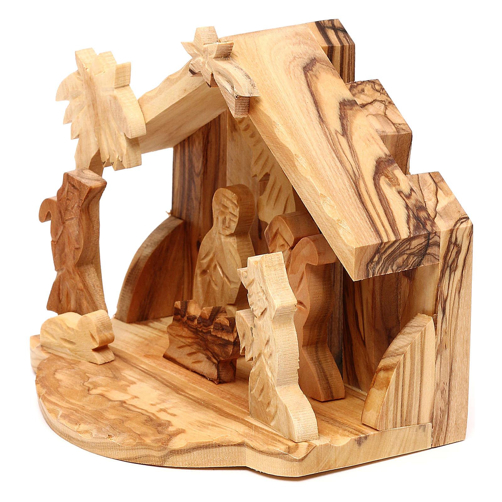 Cabaña con escena Natividad de olivo de Belén 10x10x10 cm 4