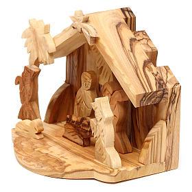 Cabaña con escena Natividad de olivo de Belén 10x10x10 cm s2