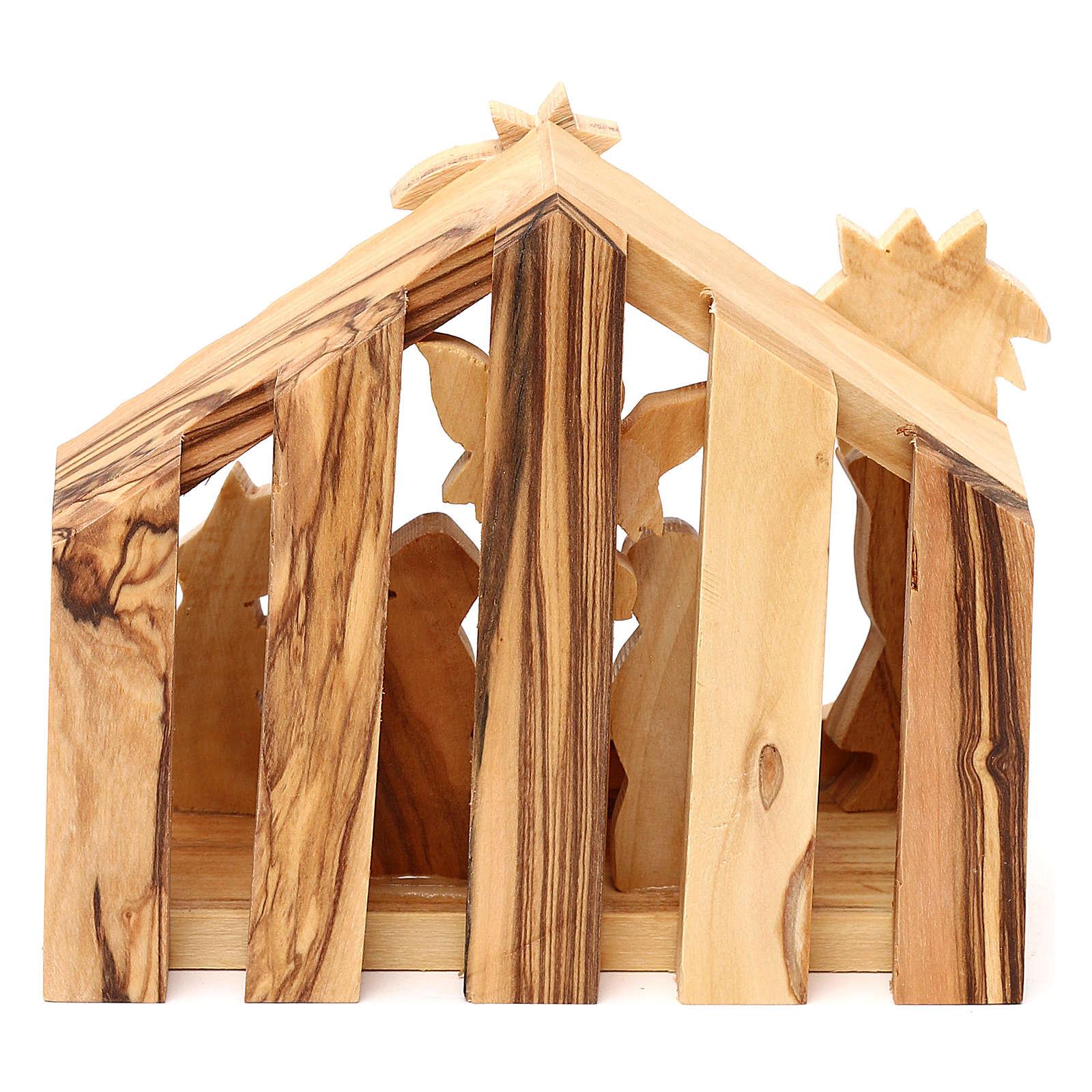 Cabane avec scène Nativité en olivier de Bethléem 10x10x10 cm 4
