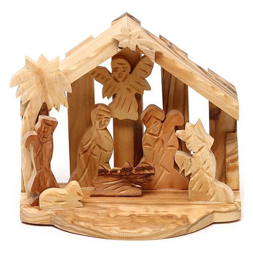 Cabane avec scène Nativité en olivier de Bethléem 10x10x10 cm 1