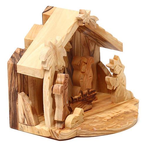 Cabane avec scène Nativité en olivier de Bethléem 10x10x10 cm 3