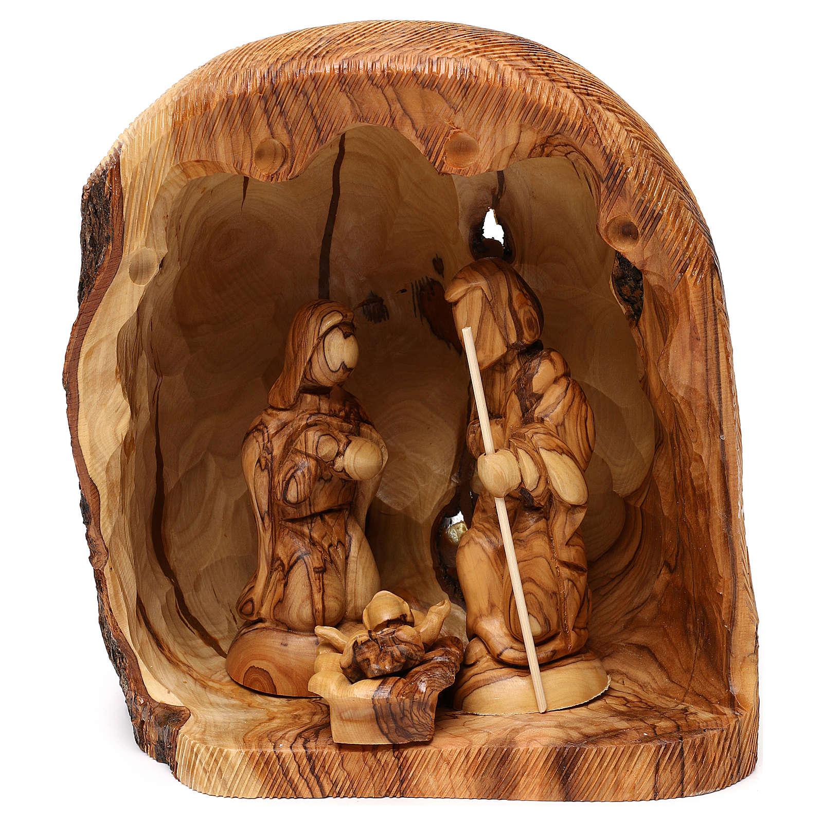 Cabaña con Natividad 3 piezas de madera de olivo Belén 25x20x15 cm 4