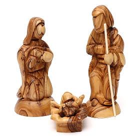 Cabaña con Natividad 3 piezas de madera de olivo Belén 25x20x15 cm s2