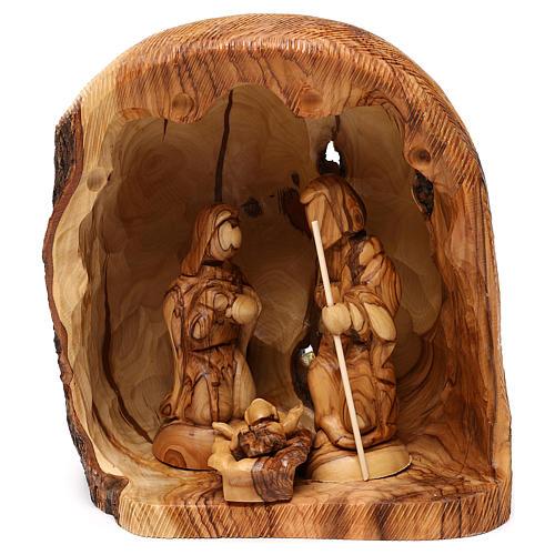 Cabaña con Natividad 3 piezas de madera de olivo Belén 25x20x15 cm 1