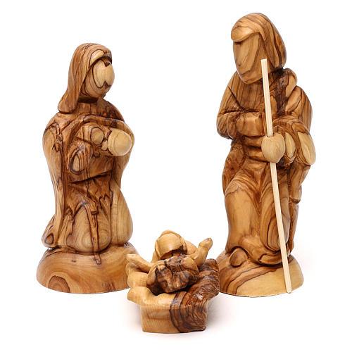 Cabaña con Natividad 3 piezas de madera de olivo Belén 25x20x15 cm 2