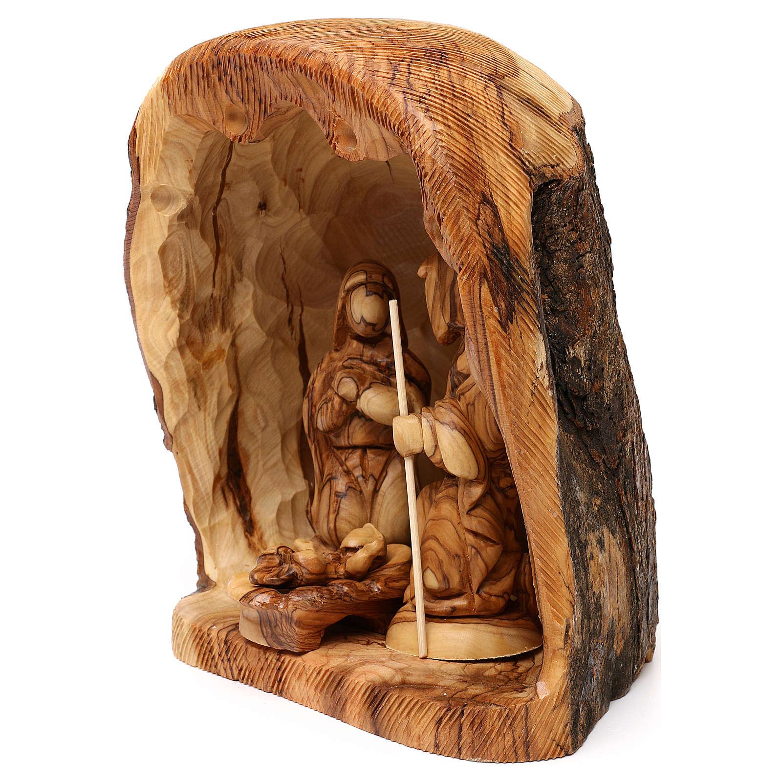 Capanna con Natività 3 pz in legno d'ulivo Betlemme 25x20x15 cm 4