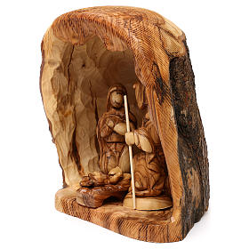 Capanna con Natività 3 pz in legno d'ulivo Betlemme 25x20x15 cm s3
