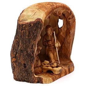 Capanna con Natività 3 pz in legno d'ulivo Betlemme 25x20x15 cm s4