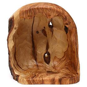Capanna con Natività 3 pz in legno d'ulivo Betlemme 25x20x15 cm s5