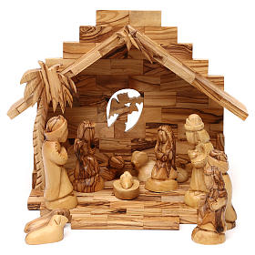 Nativity scene with cave in Bethlehem olive wood 20x30x20 cm s1