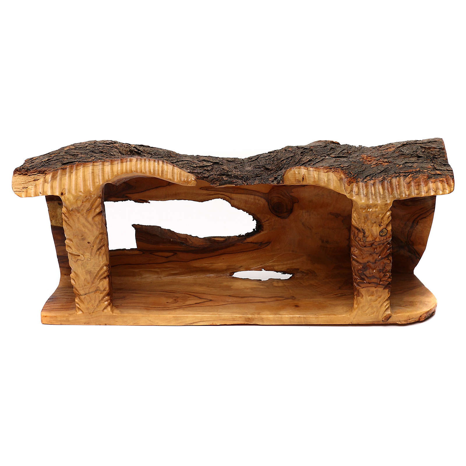 Cabaña con belén de madera de olivo Belén 20x50x15 cm 4