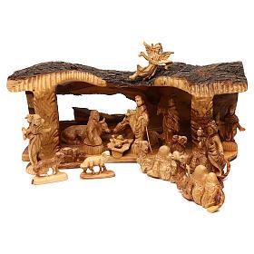 Cabaña con belén de madera de olivo Belén 20x50x15 cm s1