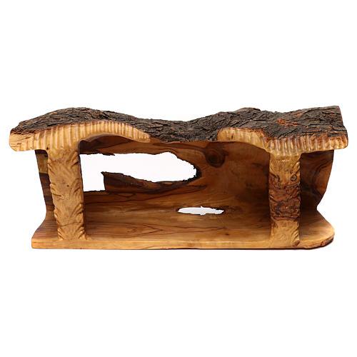 Capanna con presepe in legno d'ulivo Betlemme 20x50x15 cm 2