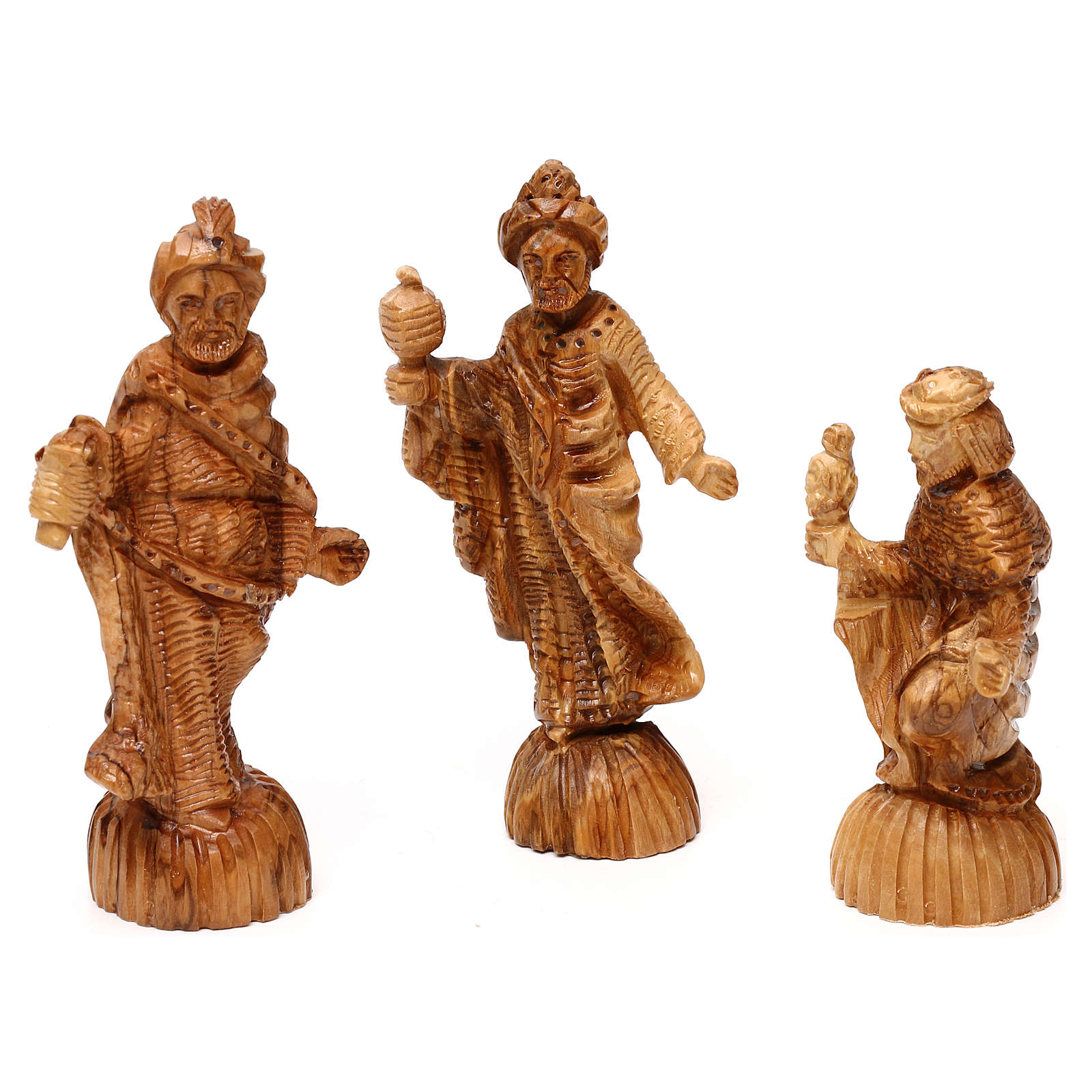 Nativity Scene in olive wood from Bethlehem with stable and angel 20x50x15 cm 4