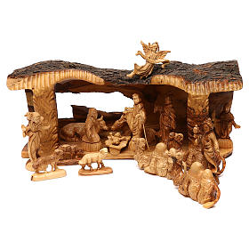 Nativity Scene in olive wood from Bethlehem with stable and angel 20x50x15 cm s1