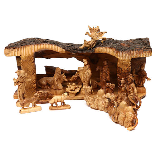 Nativity Scene in olive wood from Bethlehem with stable and angel 20x50x15 cm 1