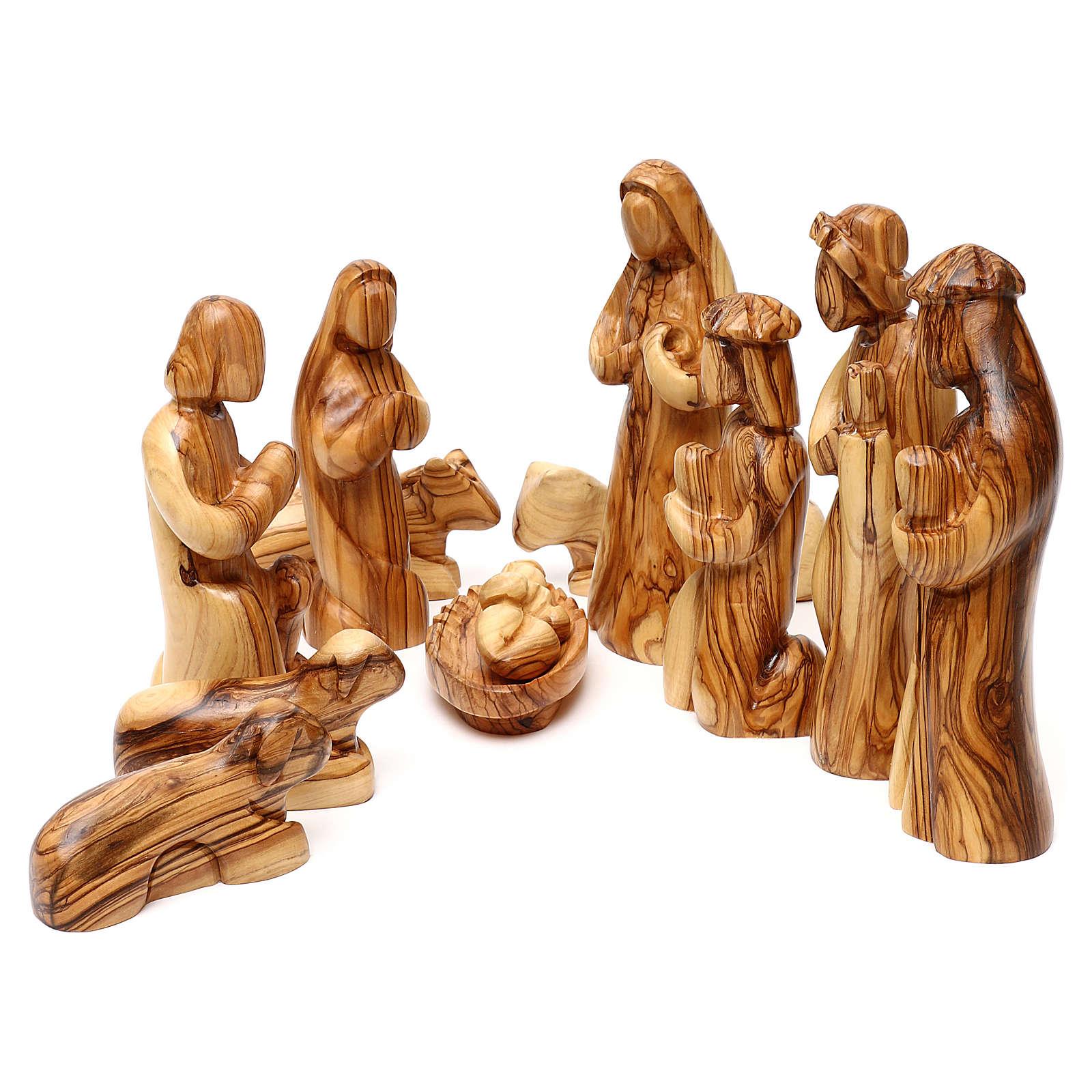 Set Nativité 12 pcs en bois d'olivier de Bethléem 36 cm 4
